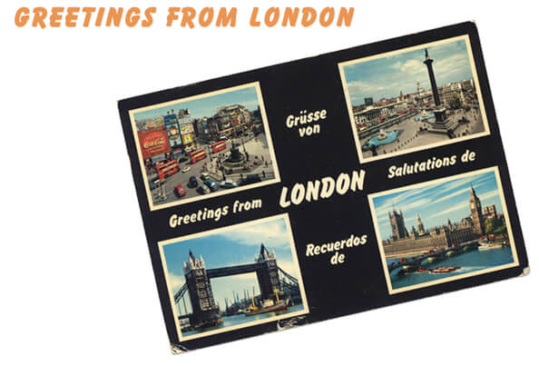 "La cartolina ""Greetings from London"" inviata da Anna e Jordan allo ""staff "" di Milano"